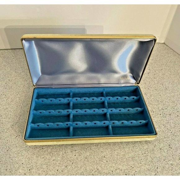 Vintage Mele Jewelry Box White & Blue Satin Lining